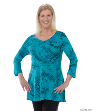 Silvert's 131400202 Womens Long Tunic Top, Size Medium, TURQUOISE