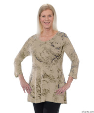 Silvert's 131400105 Womens Long Tunic Top, Size 2X-Large, SAND