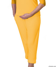 Silvert's 131600503 Womens Arthritis Elastic Waist Pull On Capris Pants, Size Medium, MARIGOLD