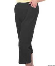 Silvert's 131600203 Womens Arthritis Elastic Waist Pull On Capris Pants, Size Medium, BLACK