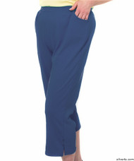 Silvert's 131600404 Womens Arthritis Elastic Waist Pull On Capris Pants, Size Large, MIDNIGHT BLUE