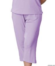 Silvert's 131600304 Womens Arthritis Elastic Waist Pull On Capris Pants, Size Large, LILAC