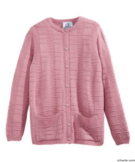 Silvert's 132600702 Womens Cardigan Sweater With Pockets , Size Small, IDEAL ROSE