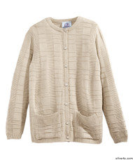 Silvert's 132600405 Womens Cardigan Sweater With Pockets , Size X-Large, NEW BEIGE