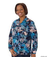 Silvert's 133000401 Mature Womens Long Sleeve Petite Blouses , Size 6P, BLUE