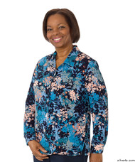 Silvert's 133000402 Mature Womens Long Sleeve Petite Blouses , Size 8P, BLUE