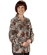 Silvert's 133000305 Mature Womens Long Sleeve Petite Blouses , Size 14P, COGNAC