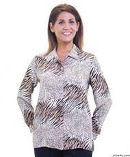Silvert's 133000106 Mature Womens Long Sleeve Petite Blouses , Size 16P, CHOCOLATE