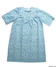 Silvert's 161300704 Womens Regular Short Cotton Sleepwear Nightgown , Size Large, BLUE FLOWER