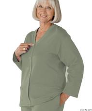 Silvert's 232500802 Womens Open Back Adaptive Fleece Cardigan With Pockets, Size Small, KHAKI