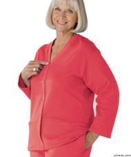 Silvert's 232500403 Womens Open Back Adaptive Fleece Cardigan With Pockets, Size Medium, DUSTY ROSE