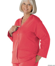 Silvert's 232500404 Womens Open Back Adaptive Fleece Cardigan With Pockets, Size Large, DUSTY ROSE