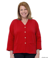 Silvert's 232500104 Womens Open Back Adaptive Fleece Cardigan With Pockets, Size Large, RED