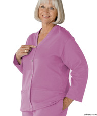 Silvert's 232500604 Womens Open Back Adaptive Fleece Cardigan With Pockets, Size Large, LAVENDER