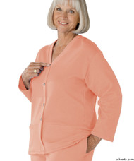 Silvert's 232500504 Womens Open Back Adaptive Fleece Cardigan With Pockets, Size Large, PINK