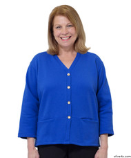 Silvert's 232500304 Womens Open Back Adaptive Fleece Cardigan With Pockets, Size Large, ROYAL