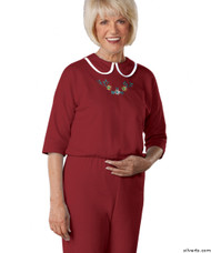 Silvert's 233300403 Womens Adaptive Alzheimers Clothing Anti Strip Suit Jumpsuit , Size Medium, BURGUNDY