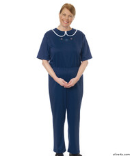 Silvert's 233300603 Womens Adaptive Alzheimers Clothing Anti Strip Suit Jumpsuit , Size Medium, NAVY
