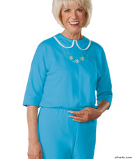 Silvert's 233300903 Womens Adaptive Alzheimers Clothing Anti Strip Suit Jumpsuit , Size Medium, TURQUOISE