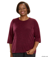 Silvert's 234610301 Adaptive Sweater Top For Women , Size 2X-Large, WINE