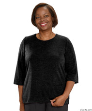 Silvert's 234610401 Adaptive Sweater Top For Women , Size 2X-Large, BLACK
