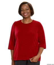 Silvert's 234610101 Adaptive Sweater Top For Women , Size 2X-Large, RED