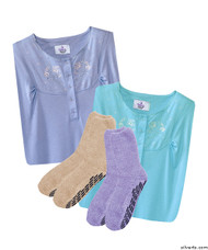 Silvert's 263600102 Womens 4 Piece Gift Pack 2 Hospital Non Skid Socks & 2 Pretty Cotton Hospital Gowns, Size Medium, GIFT PACK