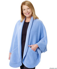 Silvert's 302431801 Womens Stylish Cozy Two Pocket Fleece Cape, Size ONE, MID BLUE