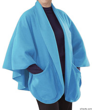Silvert's 302431701 Womens Stylish Cozy Two Pocket Fleece Cape, Size ONE, POWDER BLUE
