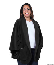Silvert's 302430301 Womens Stylish Cozy Two Pocket Fleece Cape, Size ONE, BLACK