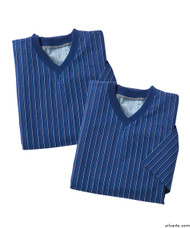 Silvert's 501400301 Mens Adaptive Flannel Hospital Gowns , Size Small, NAVY PINSTRIPE