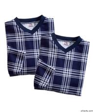 Silvert's 501400202 Mens Adaptive Flannel Hospital Gowns , Size Medium, NAVY PLAID