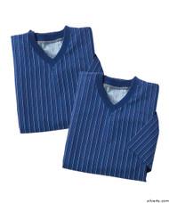 Silvert's 501400302 Mens Adaptive Flannel Hospital Gowns , Size Medium, NAVY PINSTRIPE