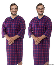 Silvert's 501400402 Mens Adaptive Flannel Hospital Gowns , Size Medium, RED/NAVY PLAID