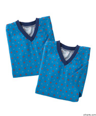 Silvert's 501400503 Mens Adaptive Flannel Hospital Gowns , Size Large, BLUE DIAMOND