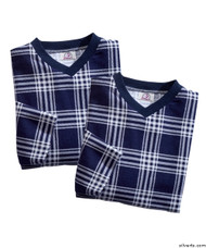 Silvert's 501400203 Mens Adaptive Flannel Hospital Gowns , Size Large, NAVY PLAID