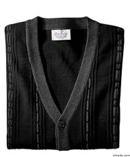 Silvert's 503700102 Cardigan Sweater For Men With Pockets , Size Medium, BLACK