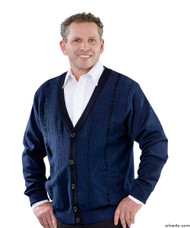 Silvert's 503700203 Cardigan Sweater For Men With Pockets , Size Large, NAVY