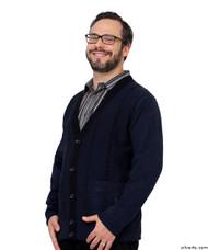 Silvert's 503730202 Stylish Quality Men's Cardigan Sweater With Pockets, Size Medium, NAVY