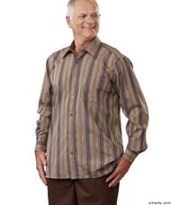 Silvert's 504000301 Mens Regular Sport Shirt with Long Sleeve, Size Small, BROWN STRIPE