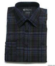 Silvert's 504000402 Mens Regular Sport Shirt with Long Sleeve, Size Medium, NAVY BLACK