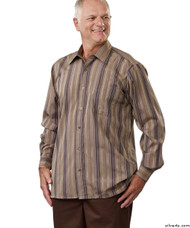 Silvert's 504000303 Mens Regular Sport Shirt with Long Sleeve, Size Large, BROWN STRIPE