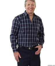 Silvert's 504000103 Mens Regular Sport Shirt with Long Sleeve, Size Large, NAVY GREY