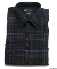 Silvert's 504000403 Mens Regular Sport Shirt with Long Sleeve, Size Large, NAVY BLACK