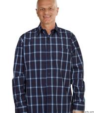 Silvert's 504000503 Mens Regular Sport Shirt with Long Sleeve, Size Large, NAVY PLAID