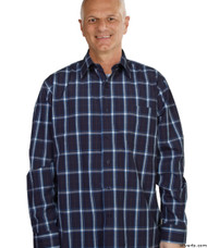 Silvert's 504000504 Mens Regular Sport Shirt with Long Sleeve, Size X-Large, NAVY PLAID