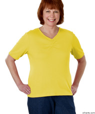 Silvert's 130700401 Womens Regular Fashionable Short Sleeve Top, Size Small, MARIGOLD