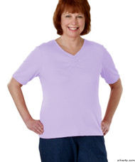Silvert's 130700303 Womens Regular Fashionable Short Sleeve Top, Size Large, LILAC