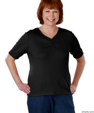 Silvert's 130700203 Womens Regular Fashionable Short Sleeve Top, Size Large, BLACK