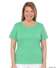 Silvert's 131500401 Womens Short Sleeve Crew Neck T Shirt, Size Small, MINT LEAF